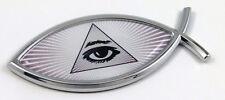 All Seeing eye Masonic Jesus Fish Car bike Auto Chrome Emblem Decal Sticker