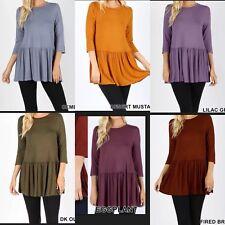 Zenana Outfitters Ruffle Bottom 3/4 sleeve Top Blouse S, M, L, XL, 1X, 2X, 3X