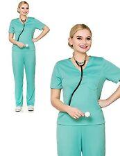 E.R. Surgeon Womens Fancy Dress Costume Outfit Scrubs Hospital Uniform Halloween
