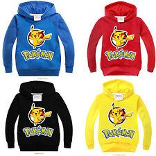 Pokemon Pikachu Kids Boys Girls Long Sleeve Hoodie Hooded Sweatshirt Jumper Tops