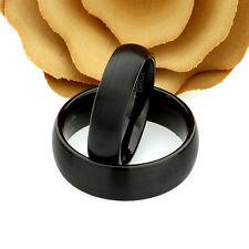 Custom Engraving Black Tungsten Wedding Band Set Brushed Domed Tungsten Ring Set