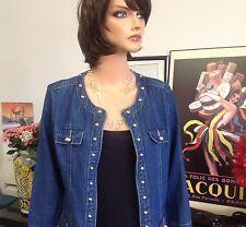 Westbound Denim Jeans Studed Zipper Down Jacket Size S High Fashion Silvertone