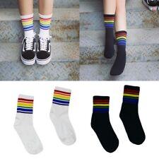 Harajuku Rainbow Striped Stockings Cool Skateborad Long Socks Ankle Socks Female