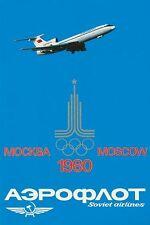 Vintage AEROFLOT JEUX OLYMPIQUES DE MOSCOU 1980 COMPAGNIE AÉRIENNE Poster A3 imprimer