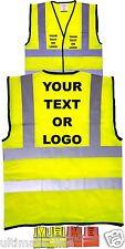PERSONALISED HI VIS SAFETY VEST WAISTCOAT COMPANY LOGO PRINT EN471