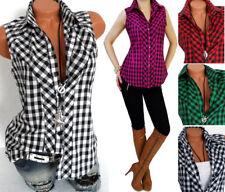 Karo Top Shirt Longtop Bluse Hemd Kariert Western Blusen Tops  34 36 38 40 42