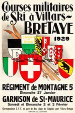 PLAQUE ALU DECO COURSES MILITAIRES DE SKI A VILLARS BRETAYE 1929 REGIMENT ARMEE