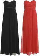 New Womens Plus Size Jewel Chiffon Bandeau Boob Evening Maxi Dress 16-26