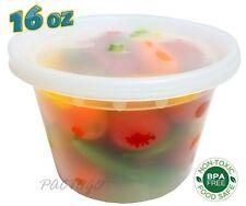PCM 16 oz. Heavy Duty Round Deli Food Soup Plastic Container w/Lid 100% BPA Free
