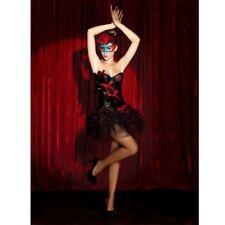 PinUp-Korsage SCHWARZ/ROT mit FEDERN Rock Burlesque Corsage Kostüm