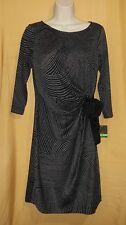 Taylor women's charcoal gray black stripe sweater dress knit top 2 $118