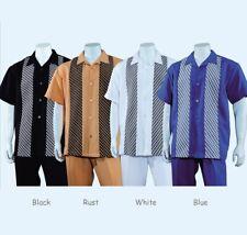 Men's 2 Piece Walking Suit Short Sleeve Casual Shirt w/ Pants Set #2968