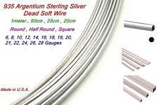 Argentium Sterling Silver Half Round,Round,Square Wire Dead Soft  28Ga ~ 6Ga