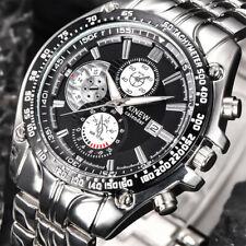 Luxuriös Herren Militär Edelstahl Stahl Datum Analog Quarz Sport Armbanduhren UK