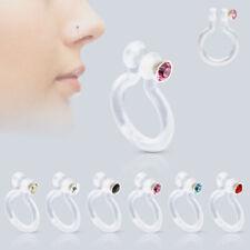 BioFlex Fake Nose Stud Ring Piercing Hoop with CZ Gem