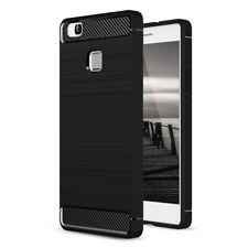 Huawei P9 Lite TPU Bumper Schutzhülle Silikon Carbon Case Carbon mit Panzerglas