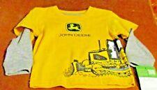 John Deere boys yellow w/bulldozer & gray long sleeves T-shirt FREE SHIPPING