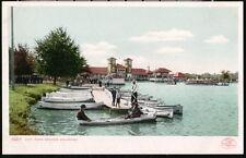 Denver Co City Park Lake Pavilion Boat Dock Canoes Antique Postcard Old Vtg Pc