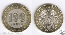 KAZAKHSTAN:  bi-metallic 100 tenge *RARE date 2007*UNC