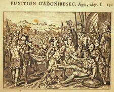 GRAVURE 17è 18è BIBLE DE ROYAUMONT Punition d'Adonibesec Juges Chap I
