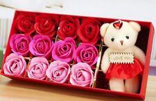 Gift Set Bath 12 Rose Flower Soap with Teddy Bear!Sale ������