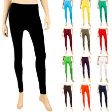 Womens Basic Solid Leggings Stretch Pants New Long Full Length One Size S M L