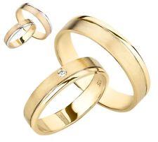 Trauringe 375 Gold Eheringe Diamant Brillant Gelbgold bicolor Weißgold Paarpreis
