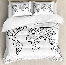 World Map Duvet Cover Set with Pillow Shams Sketch Outline Artful Print