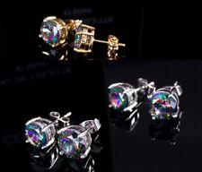 6mm/8mm Men Women Sterling Silver Post Stud Cubic Zirconia Earrings Gift Box