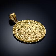 Gold Aztec Mayan Mexico Sun Calendar Pendant 3 sizes: small, medium, large