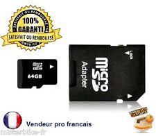 Carte Mémoire Micro SD SDHC avec Adaptateur  4Go / 8Go 16Go, 32Go, 64Go Classe10