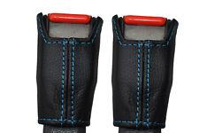 BLUE STITCH FITS TOYOTA SUPRA MK3 86-93 2X FRONT SEAT BELT STALK LEATHER COVERS