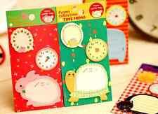 Cute Animal & Clock sticky notes school kid cat rabbit stationary memo pad UK