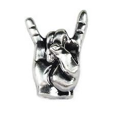 Pin Rock Hand Größe: 18mm o. 22mm Pommesgabel Anstecker Anstecknadel