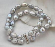 2 Rows 7-8mm-10-11mm baroque gray freshwater pearl bracelet 7.5'' J180