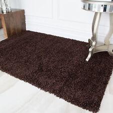 Brown Chocolate Dark Warm Shaggy Pile Area Rug Living Room Bedroom Floor Rugs