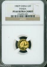 1987-P PROOF GOLD Chinese PANDA 1/20 Oz. NGC PF66 PR66 CHINA 5Y 5-Yuan Yn