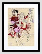 Historia Cultural Japón Abstracto Hembra Samurai chikanobu enmarcado impresión B12X5803