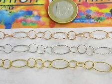 10,5 cm di catena ovaline e tondine fini in argento 925 3 colori a scelta italys
