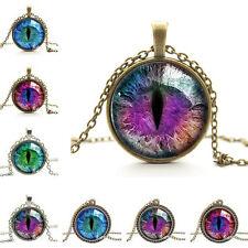 Quality Dragon Cat Eye Glass Cabochon Pendant on Bronze Necklace Chain  Z