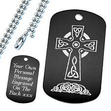 Personalised Engraved Christian Celtic Cross Irish Iona Kells Dog Tag Pendant