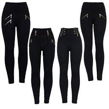 Nuevo Para mujeres Cintura Alta Negro Ceñido Ajustado Cremallera y botón Calzas Elastizadas Jegging