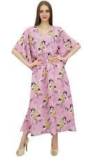 Bimba Pink Kaftan Kimono Dress Women's Summer Evening Floral Printed Maxi