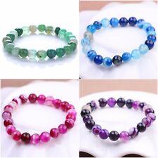 Purple Pink Blue Green Onyx Stone Bead Stretch Bracelet Birthday Christmas Gift