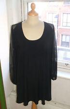 Baylis & Knight Scoop Neck BLACK Angel SHEER Sleeve SMOCK TUNIC Dress Relaxed