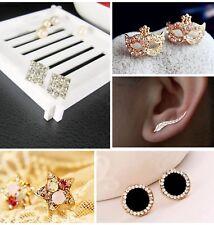 Stud Earrings Various Styles Heart Square Crystal Round UK