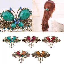 Cute Retro Rhinestone Crystal Butterfly Hair Clip Flower Hairpins