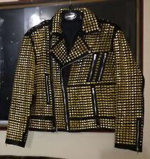 New Woman Fashion Golden Full Studded Leather Jackets, Women studded Jackets
