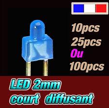 340B# LED 2mm court bleu diffusant - dispo 10, 25 ou 100pcs * blue diffused