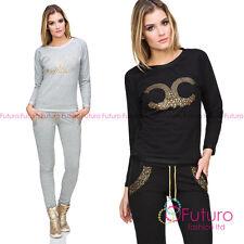Ladies Shiny Felpa Girocollo Abbigliamento Pantaloni Casual Tuta da ginnastica fz116